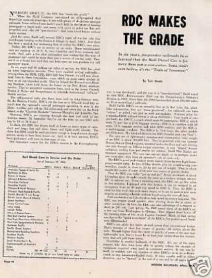 """Rdc Makes the Grade"" Article/budd Rdc's (1956)"