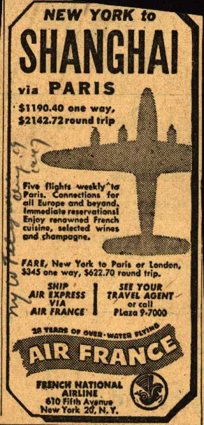 Air France's Shanghai – New York to Shanghai via Paris (1947)