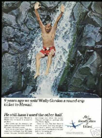 Hawaii Waterfall United Airlines Wally Gordon (1967)