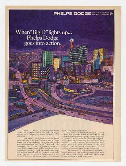 Dallas Texas art Big D Lights Up Phelps Dodge (1969)