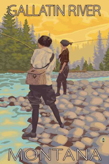 Women Fly Fishing, Gallatin River, Montana