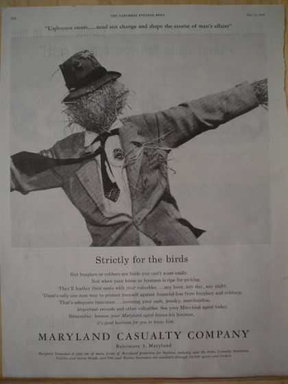 Maryland Casualty Co Strictly for the birds. Scarecrow theme (1957)