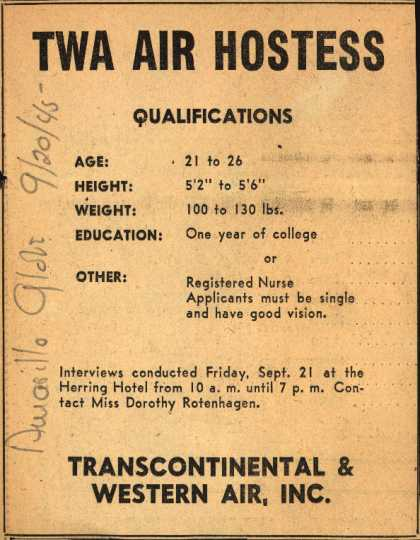 Transcontinental &amp; Western Air&#8217;s Air Hostess Employment &#8211; TWA Air Hostess Qualifications (1945)