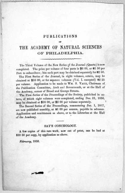 Publications of the Academy of natural sciences of Philadelphia ... [Philadelphia] February 1858. (1858)