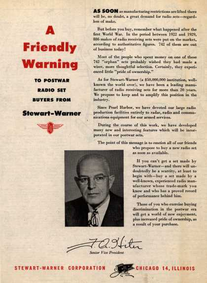 Stewart-Warner Corporation&#8217;s Radio &#8211; A Friendly Warning to Postwar Radio Set Buyers From Stewart-Warner (1945)