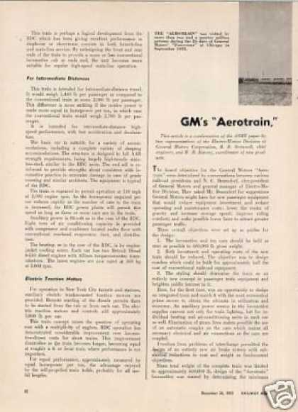 """Gm's Aerotrain, a New Concept"" Article (1955)"