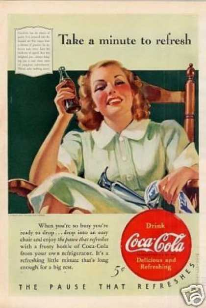 "Coca-cola Ad ""Take a Minute To Refresh.. (1940)"