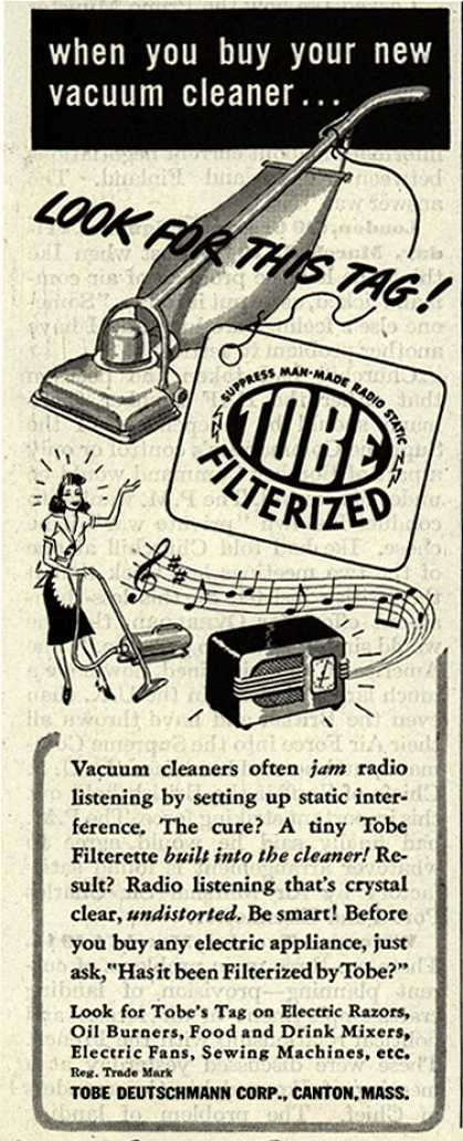 Tobe Deutschmann Corporation's Radio Noise Filter – When You Buy Your New Vacuum Cleaner... Look For This Tag (1946)