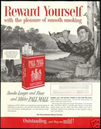 Fly Fisherman Vintage Pall Mall Cigarette (1954)