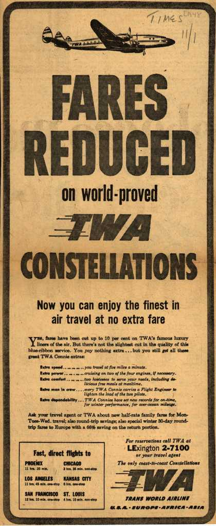 Trans World Airline's Low fares – Fares Reduced on world-proved TWA Constellations (1948)