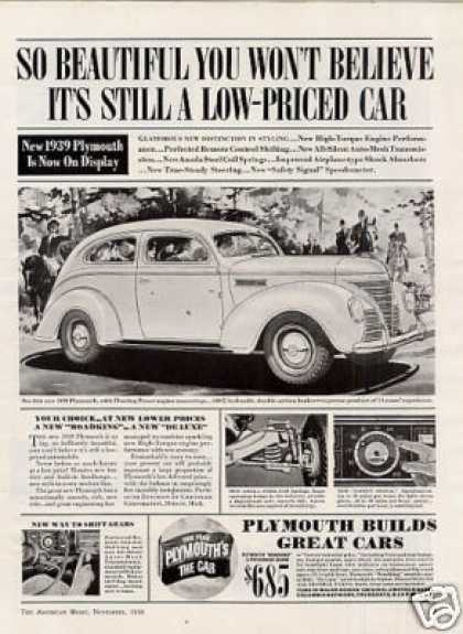 "Plymouth Car Ad ""So Beautiful You Won't... (1939)"