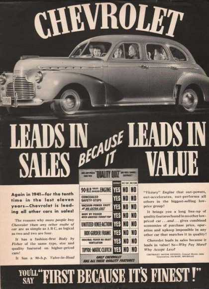 Chevrolet Leads In Sales Car (1941)