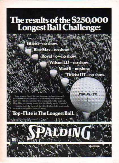 Spalding Golf Ball – Top-Flite is the Longest Ball (1976)