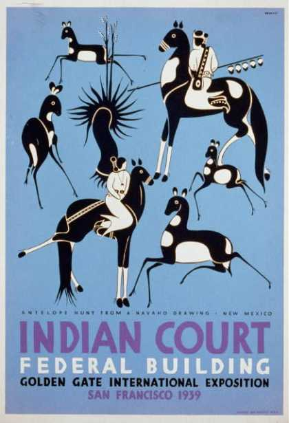 Indian court, Federal Building, Golden Gate International Exposition, San Francisco, 1939 – Antelope hunt from a Navaho drawing, New Mexico / Siegri (1939)