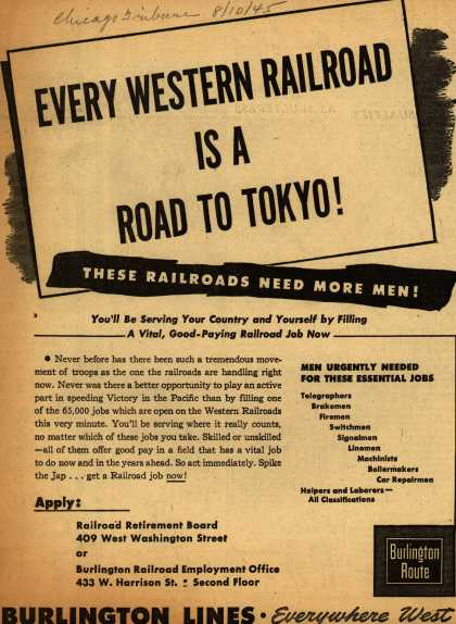 Burlington Line's railroad job – Every Western Railroad Is A Road To Tokyo (1945)