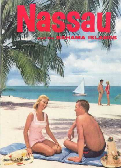 Nasau Bahama Islands Beach Scene (1958)