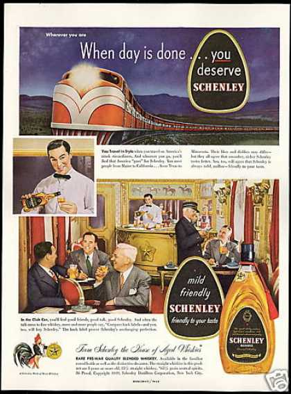Streamliner Train Club Car Schenley Whiskey (1949)