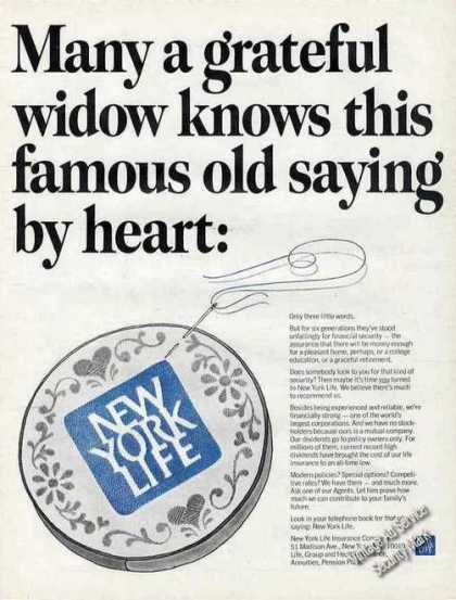 New York Life Grateful Widow Famous Old Saying (1967)