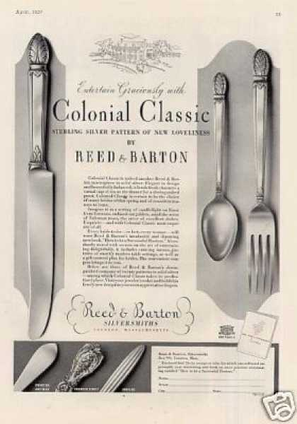 Reed & Barton Silver Ad Colonial Classic (1937)