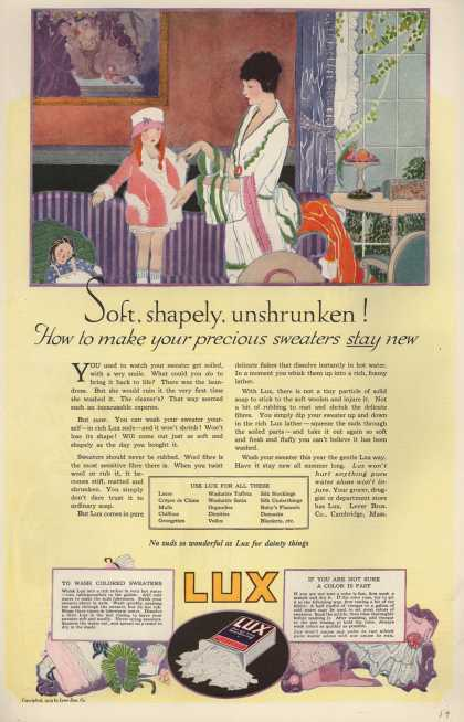Lever Bros.'s Lux (laundry flakes) – Soft, shapely, unshrunken (1919)
