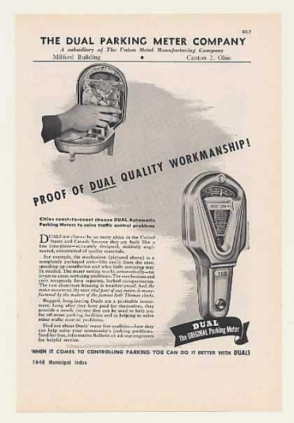 Dual Automatic Parking Meter Proof of Quality (1948)