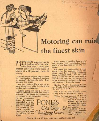Pond's Extract Co.'s Pond's Cold Cream and Vanishing Cream – Motoring can ruin the finest skin (1920)