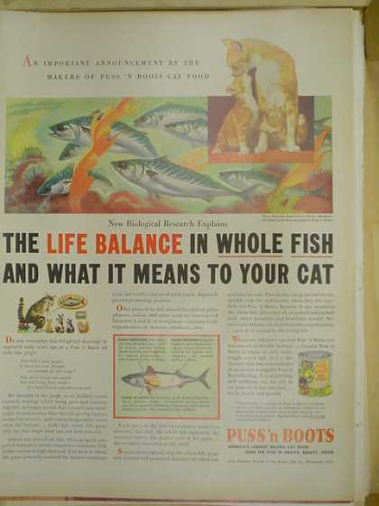 Puss N Boots Cat Food. Life balance in whole fish (1953)