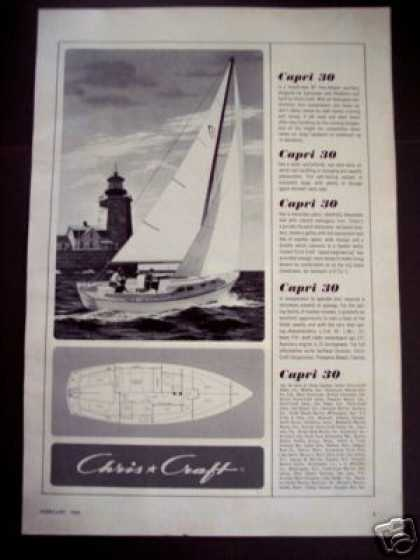 Chris Craft Capri 30' Sailboat Boat (1964)