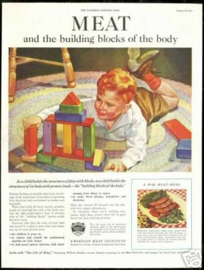 Boy Toy Wood Blocks American Meat Institute (1944)