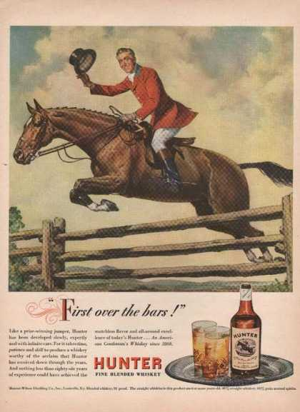 First Over the Bars Hunter Blended Whiskey (1946)