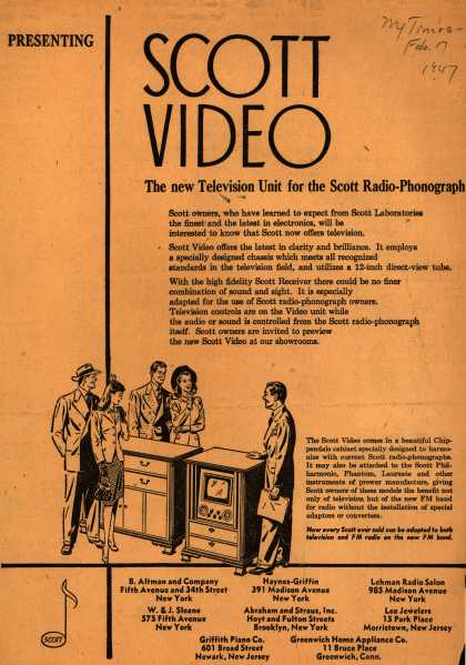Scott Laboratorie's Scott Video – Scott Video: The new Television Unit for the Scott Radio-Phonograph (1947)