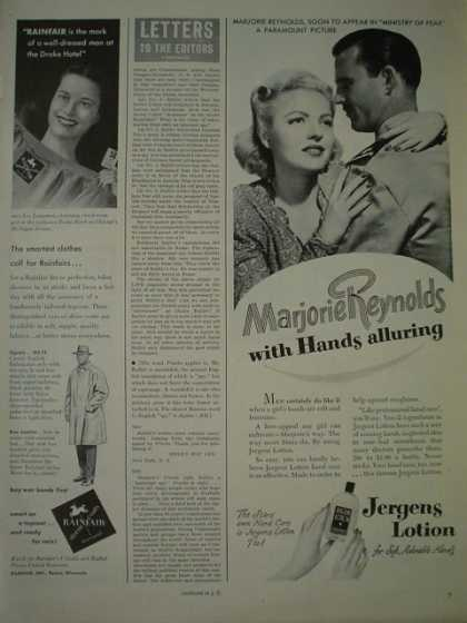 Jergens lotion. Marjorie Reynolds with hands alluring (1944)