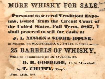 J. I. Nissen's Store House – More Whisky for Sale (1868)