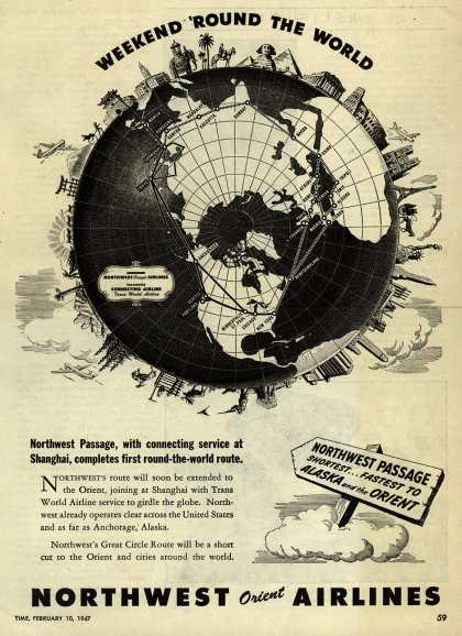 Northwest Airline's Great Circle Route – WEEKEND 'ROUND THE WORLD (1947)