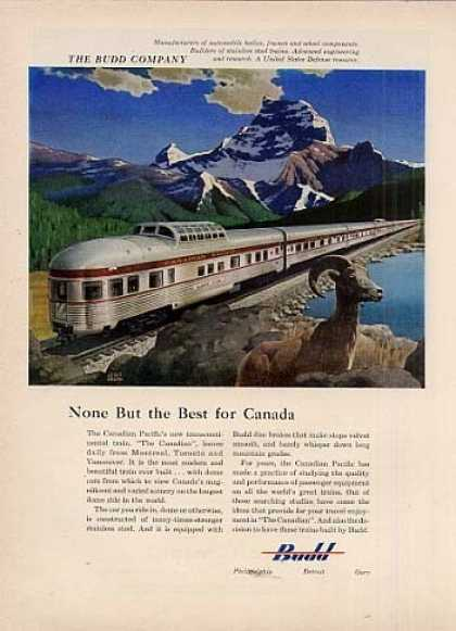 Budd Ad Canadian Pacific/leslie Ragan Art (1955)