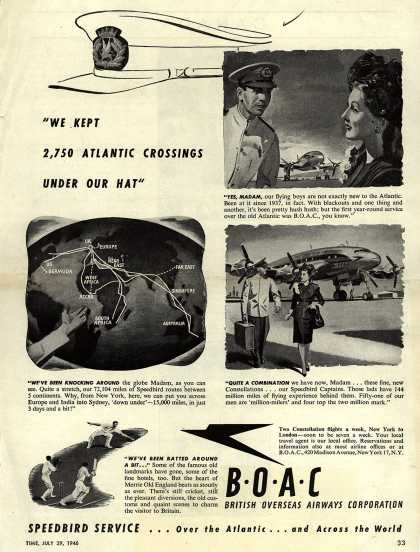 "British Overseas Airways Corporation – ""We Kept 2,750 Atlantic Crossings Under Our Hat."" (1946)"