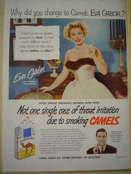 Camel Cigarettes Not a single case of throat irratation due to smoking Camels Eva Gabor (1952)