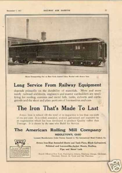 Armco Ad New York Central Horse Car (1917)