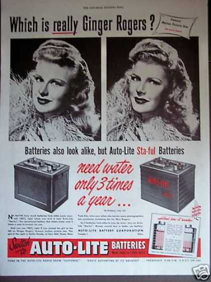 Ginger Rogers Look Alike Auto-lite Batteries (1948)
