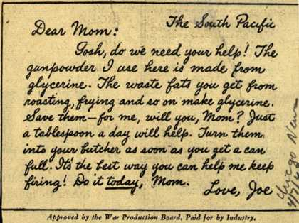 War Production Board's Waste Fats – Dear Mom: (1943)