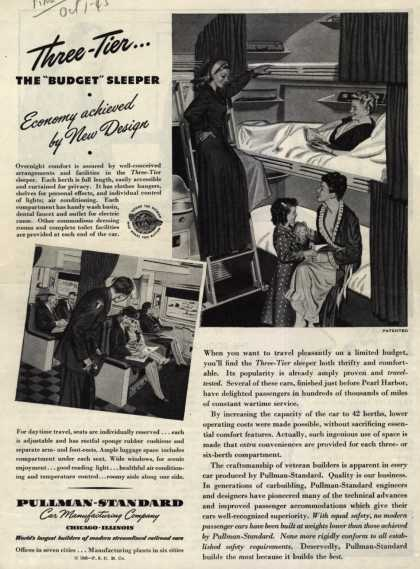 "Pullman-Standard Car Manufacturing Company's Three-Tier Sleeper Car – Three-Tier... The ""Budget"" Sleeper. Economy achieved by New Design (1945)"