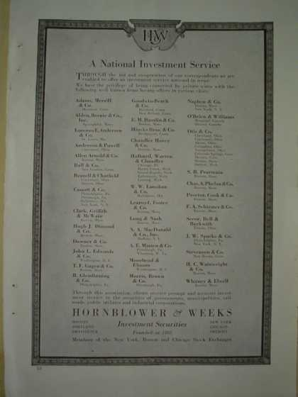 Hornblower and Weeks A national investment service (1920)