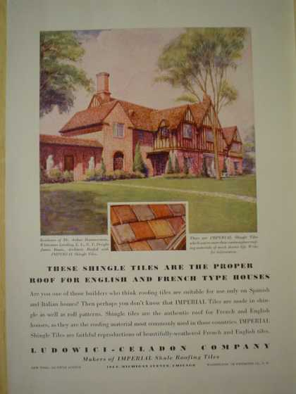 Ludowici Celadon Co. Roofing shingle tiles for English and French Type houses (1930)