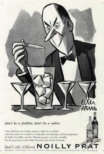 Noilly Pratt Vermouth Martini Ad Peter Arno Art (1957)