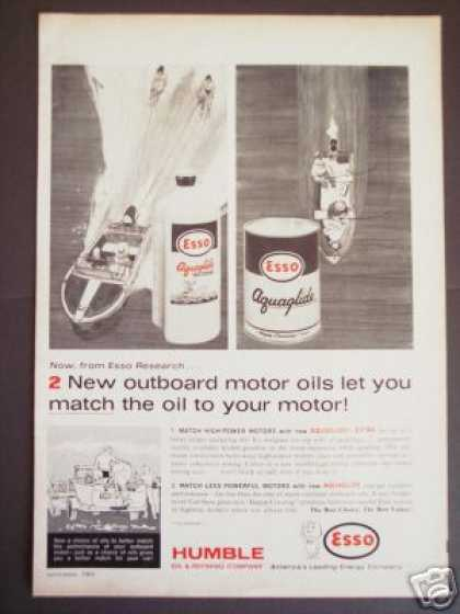 Esso Aquaglide Outboard Motor Oil Boating (1963)
