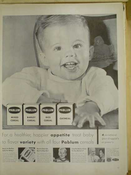 Pablum baby cereal. Mixed, Rice, Barley, Oatmeal (1953)