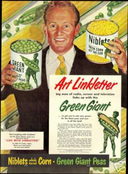 Art Linkletter Green Giant Peas Corn Art (1950)