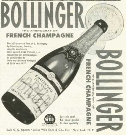 Bollinger Brut French Champagne Ad 1947 (1955)