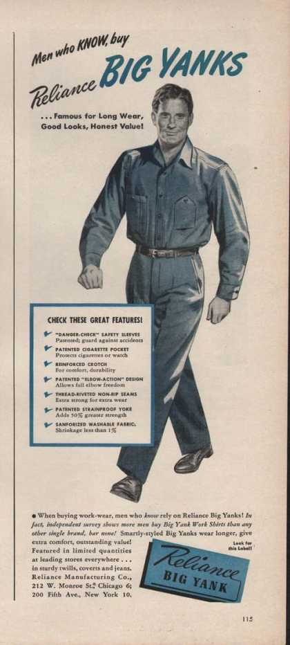 Reliance Big Yank Mens Work Clothing (1946)