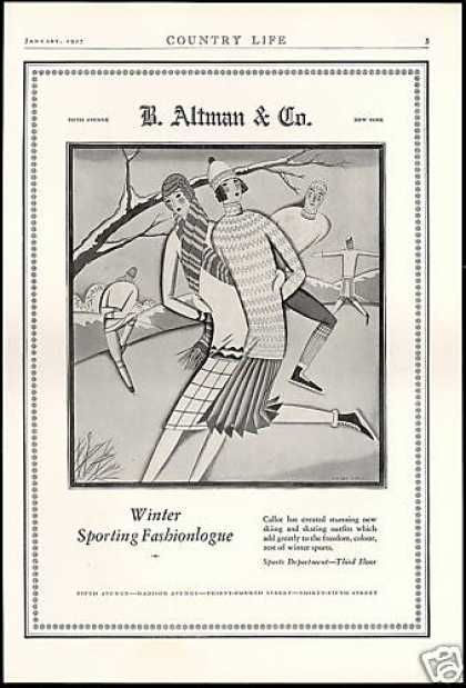 B Altman & Co Ski Skate Fashion Gaul Deco Art (1927)